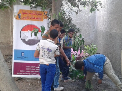 Student activity - students from Saad Darwish planting their school